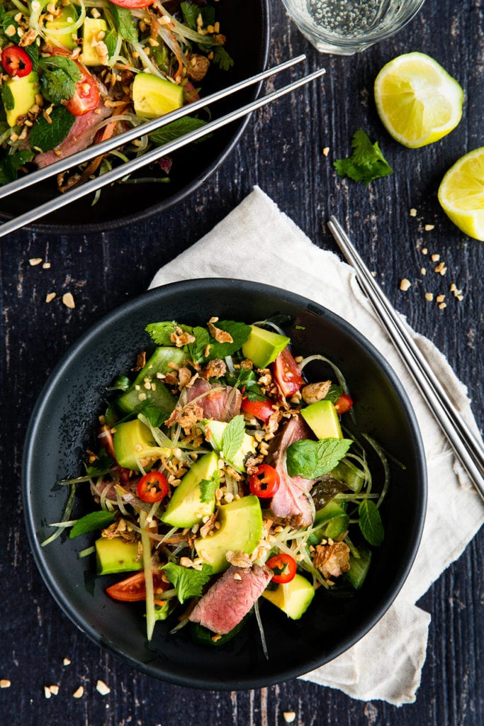 Thai Beef Salad with avocado