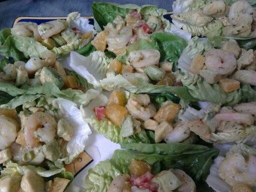 Avocado, prawn and orange salad in cos leaves