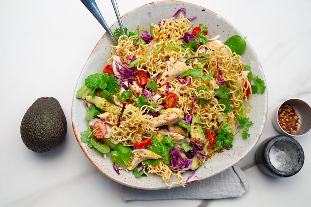 Chicken, Avocado and Crunchy Noodle Salad