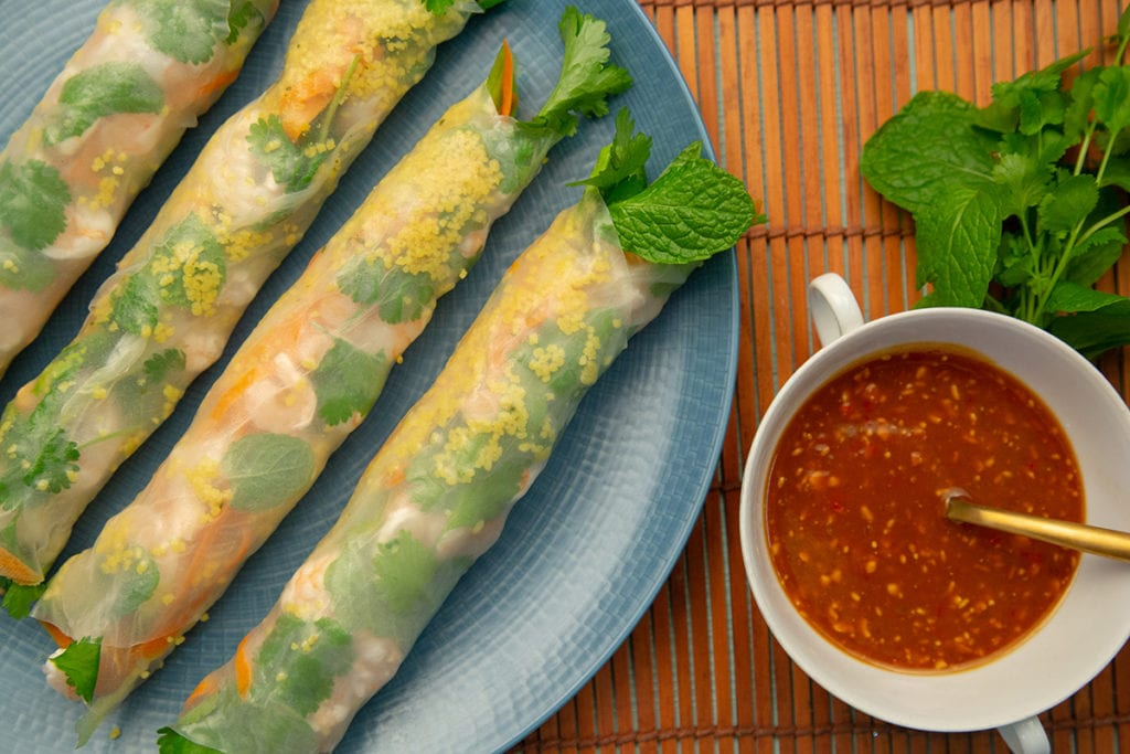 Couscous Prawn Rice Paper Rolls