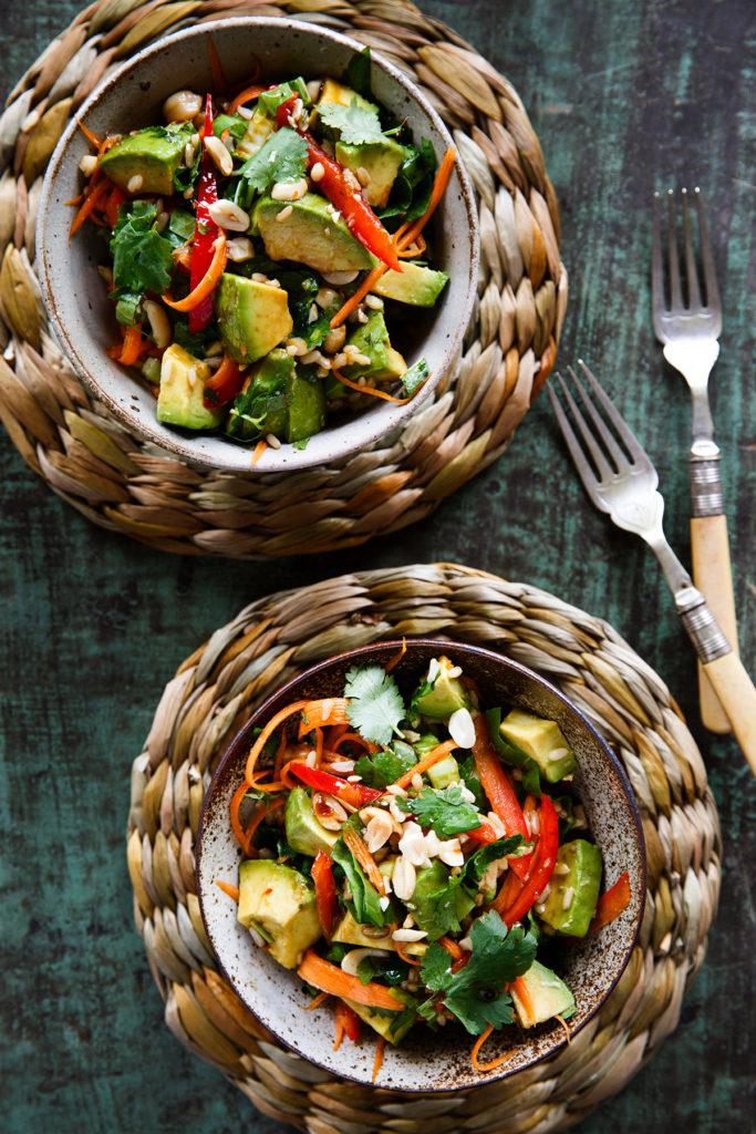 Avocado and crunchy bok choy slaw brown rice salad