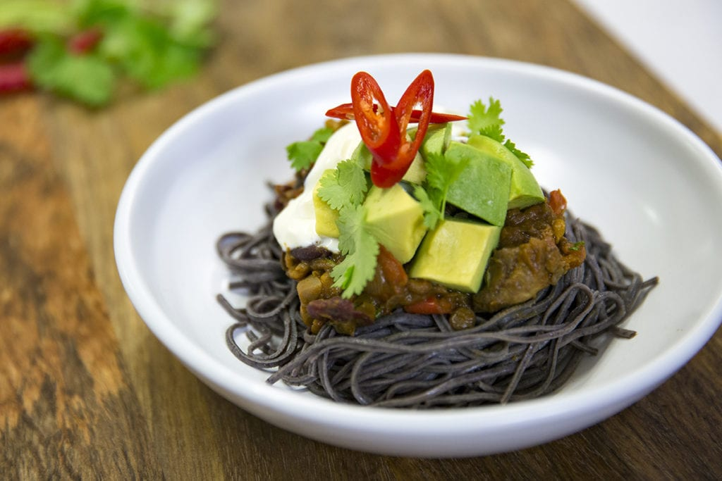 Vegetable Chilli with Black Bean Spaghetti