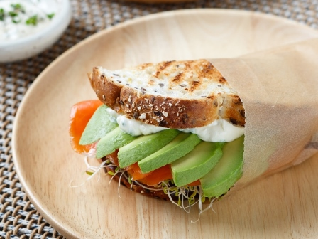 Avocado and salmon toasted sandwich