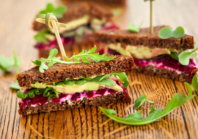 Avocado and beetroot sandwich