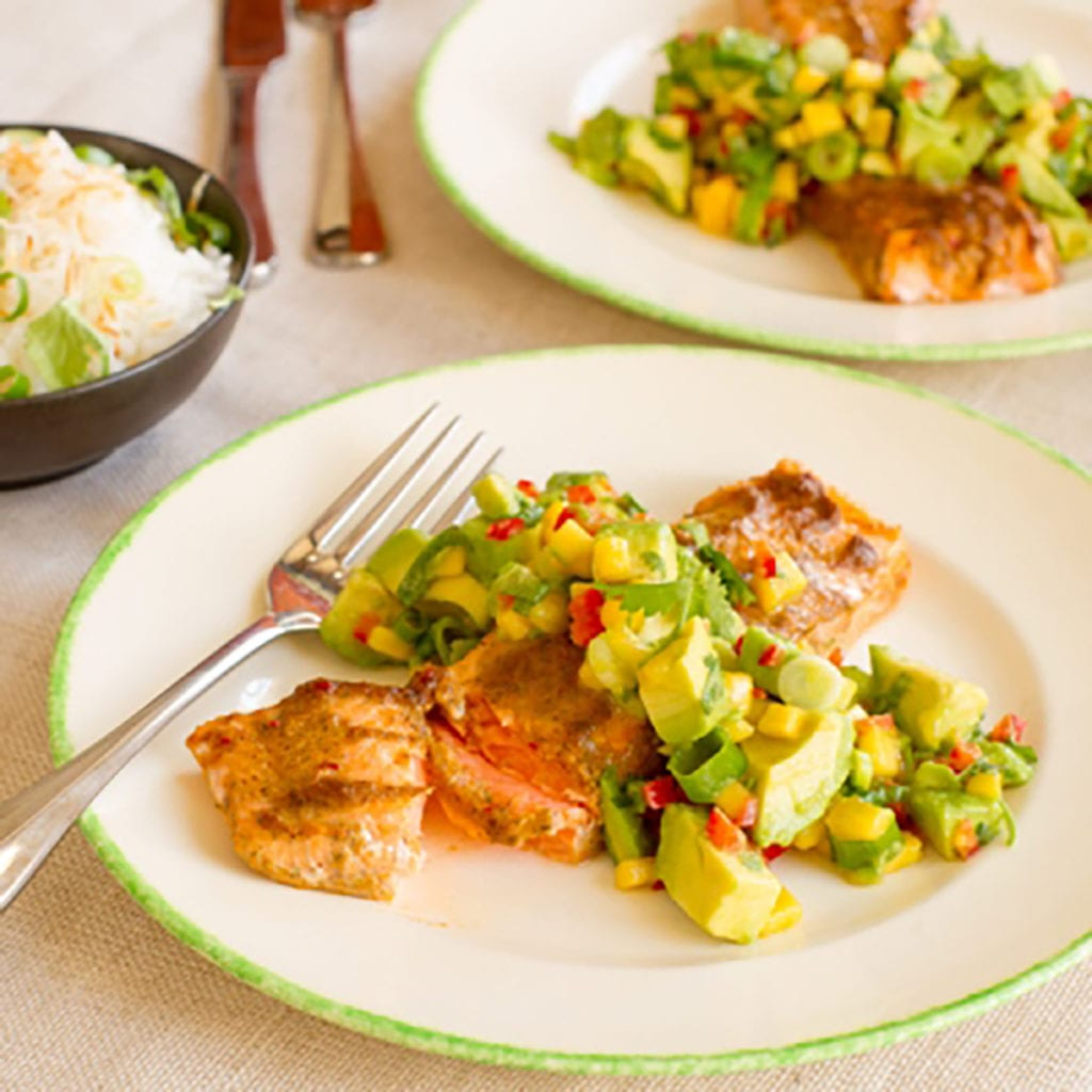 Jerk Regal Salmon with Avocado Mango Salsa