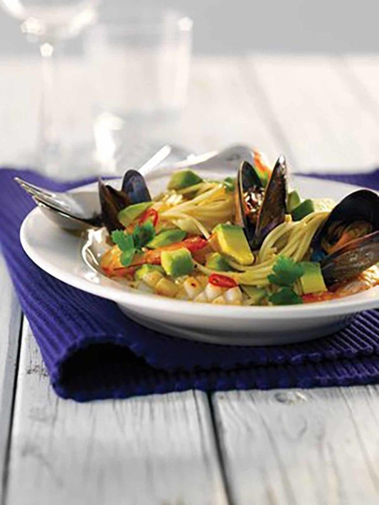 Simple Seafood Spaghetti with Avocado & Parsley