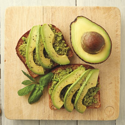 Avocado and smashed peas on toast