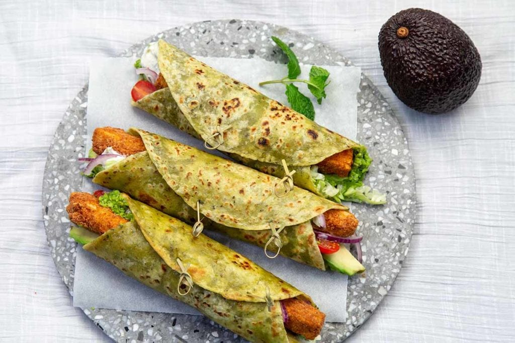 "Vegetarian ""Fish Finger"" Wraps with pea puree"