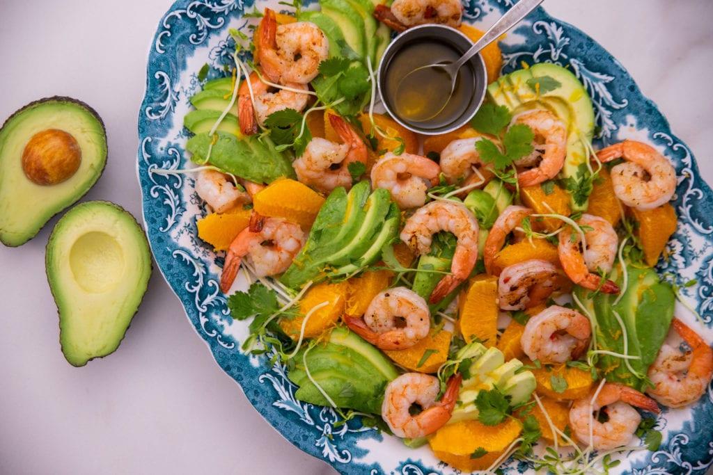 Fast BBQ Garlic Prawns With Avocado Salad