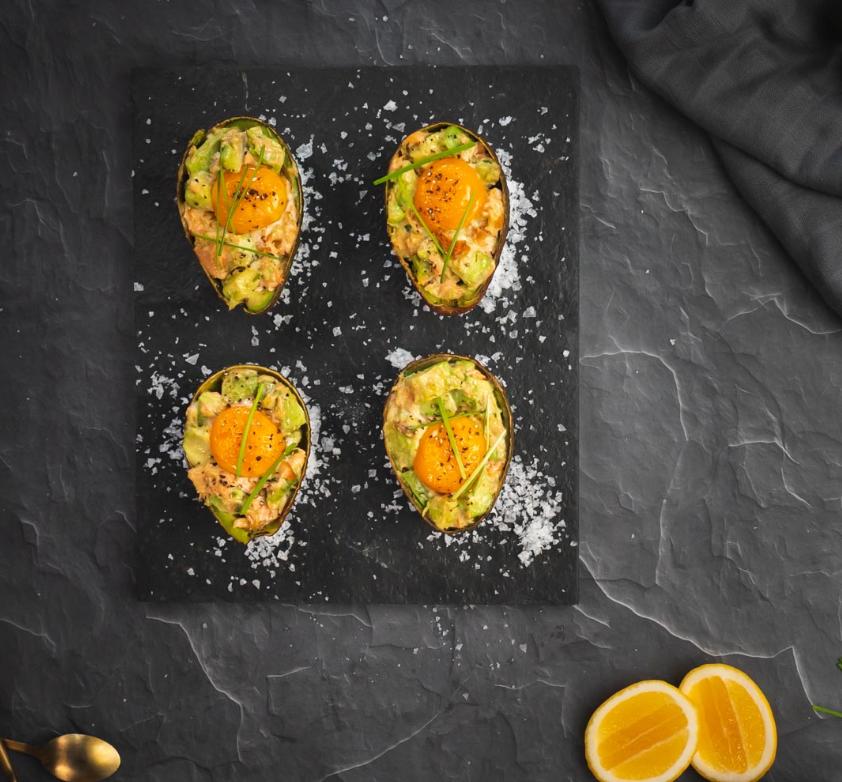 Baked Avocado Salmon & Egg Boats