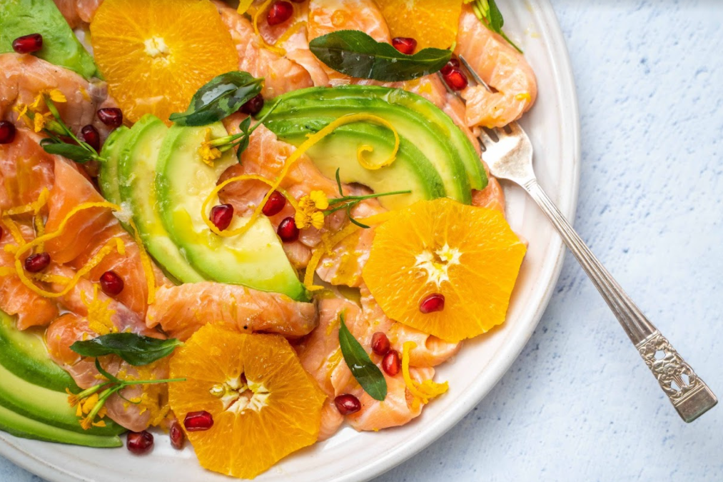 Salmon Carpaccio with Tarragon, Avocado & Orange