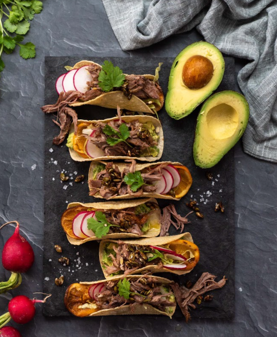 Pulled Lamb Tacos With Avocado